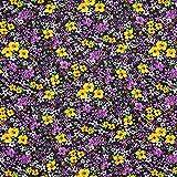 Fabulous Fabrics Voile Rosen – lila/gelb — Meterware ab