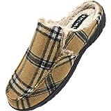 ONCAI Pantofole Uomo Invernali Plaid Ciabatte con Pelo da Uomo Tweed Zoccoli Pantofola da Camera per Uomo con Cuscino Memory