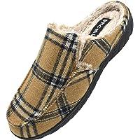 ONCAI Chaussons Hommes-Hiver Extérieur Plaid Pantoufles Homme-Antidérapant Toison de Peluche Doublure Intérieur Tweed…