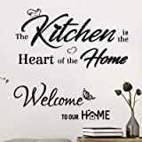 "2 Pcs Pegatinas Vinilos de Pared""Welcome to Our Home"" y""Kitchen is the Heart of Home"" Decorativos Adhesivos Pegatinas Murales"