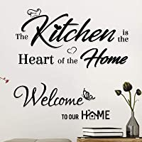 """2Pcs""""The Kitchen Is The Heart of The Home""""""""Wellcome to Our Home"""" Stickers Autocollants Muraux Décalque Wall Sticker DIY…"""
