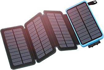 Hiluckey Solar Power Bank 25000mAh, Hohe Kapazität Solar Ladegerät mit 4 Solar Panels-5W Schnellladung mit LED-Taschenlampe 2-Port 2,1 A Output Kompatibel für iPhone, Samsung Galaxy, iPad,Smartphone