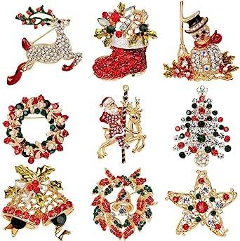 Elegant Rose Natale Spilla Pin 9 colorati Strass cristallo Xmas regalo per Natale, Ornaments regali