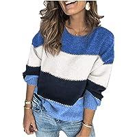 ANCAPELION Damen Grobstrick Pullover Casual Stricken Sweater Lange Ärmel Pulli Farbblock Sweatshirt Elegant Jumper…