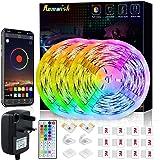 Romwish LED Strip Light 15M, RGB SMD 5050 Bluetooth Music Sync Smart Color Changing Rope Lights, 44 Keys Remote Control, Timi