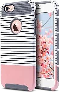 ULAK iPhone 6S Hülle, iPhone 6 [Bunte Serie] Dünn Stylische Handyhülle Hybrid Stoßfest Schutzhülle Tasche Hart PC + Weiche Silikon Case Cover für Apple iPhone 6/6S 4,7 Zoll - Roségold Streifen