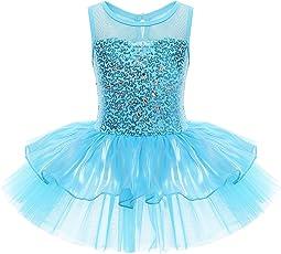 iEFiEL Mädchen Kleid Ballettkleid Kinder Ballett Trikot Ballettanzug mit Tütü Röckchen Pailletten Kleid in Weiß Rosa Türkis