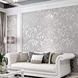 Wallpaper 3D, Luxury Embossed Wallpaper Roll, Non-Woven Wallpaper 3D for Bedroom, Silver GreyLeaf Pattern Wallpaper Roll for