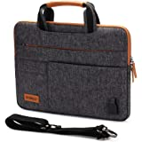 """DOMISO 15.6 Inch Multi-Functional Laptop Sleeve Business Briefcase Messenger Bag with USB Charging Port Compatible for 15.6"""""""