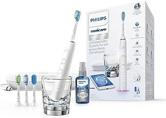 Philips Sonicare DiamondClean Smart Schallzahnbürste HX9924/03 mit 5 Putzprogrammen, 3 Intensitäten, Ladeglas, USB-Reiseetui & 4 Bürstenköpfen - schonendes Putzen dank Drucksensor – Weiß