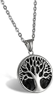 Collana da uomo, in acciaio, con ciondolo, pendente Oidea, vintage, albero della vita, catena da 55 cm, argento nero