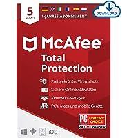 McAfee Total Protection 2021   5 Geräte   1 Jahr   Antivirus Software, Virenschutz-Programm, Passwort Manager, Mobile…