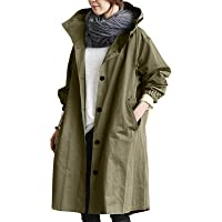 Waterproof Raincoat Windproof Long Sleeve Jacket Hooded CUTUDU Womens Lightweight Windbreaker Outdoor Trench Solid Coats…