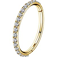 OUFER 18G 1mm Naso Anello Cerchio Hoop Nose Ring Nostril Incernierato Helix Piercings Acciaio Inossidabile CZ Daith…