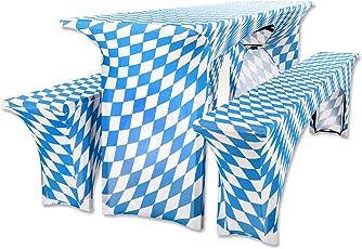 Gräfenstayn® Leopold Stretch Biertischhussen-Set 3 tlg für Bierzeltgarnitur – 70cm oder 50cm Tischbreite - mit Öko-Tex Standard 100