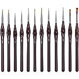 WLOT Pinceaux Peinture Professionnels Détail Pinceaux pour Acrylique Huile Aquarelle Nail Art Pinceau de détail Ensemble,12 p