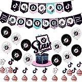 Decoración De Globos De Cumpleaños De Tik Tok, BAIBEI 36PCS Decoración De Fiestas De Cumpleaños Globo De Látex Cake Topper Pa