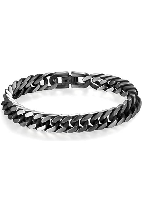 OSTAN 21,5 cm Pulsera de acero inoxidable para hombre con cadena de eslabones para motocicleta