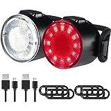 Luci Biciclette, Luci per Biciclette a LED Impermeabili, 6 Modalità di Luminosità Fanale Posteriore Anteriore, USB Ricaricabi