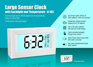 Power Plus Large Clock with Backlight and Temperature Sensor
