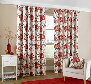 Red Curtains amazon red curtains : Just Contempo Oriental Floral Eyelet Lined Curtains, Red, 46x54 ...