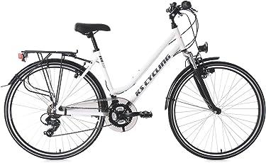 KS Cycling Damen Trekkingrad Alu-Rahmen Metropolis 48 cm Flachlenker Fahrrad, Weiß, 28
