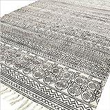 Eyes of India bunt Baumwolle Blockdruck Akzent Bereich Dhurrie Teppich Flach zu weben Hand geflochten Bohemian - Schwarz, 4 X 6 ft. (120 X 180 cm)