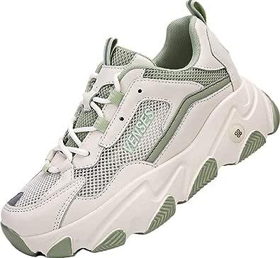 GILKUO Womens Hidden Wedges Trainers Platform Shoes Heels 7 cm