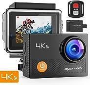APEMAN 4K Action Cam Wi-Fi 20MP Ultra FHD Impermeabile 30M Immersione Sott'Acqua Camera con Schermo 2 Pollici 170 Gradi Ampia Vista Grandangolare/Telecomando 2.4G/ 20 Accessori all'Interno
