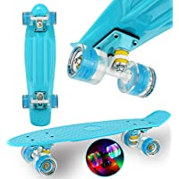 "WeLLIFE Skateboard Mini Cruiser RGX Tavola Skate 22"" 56cm per Bambini Ragazzi Adulti, Ruote Luminose PU 78A con Luci…"