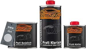 Tristarcolor Autolack Set Dose Spritzfertig Für Bmw 354 Titansilber Metallic Titanium Silver Metallic Basislack 2k Klarlack 1 25l Auto