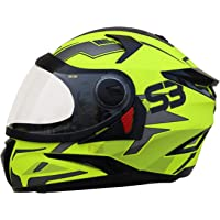 Steelbird SBH-17 Terminator Full Face Graphic Helmet (Medium 580 MM, Glossy Fluo Neon With Clear Visor)