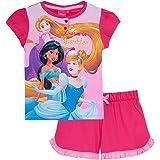 Disney Princess Short Pyjamas Girls Character Shortie Pjs Set Kids Princesses T-Shirt + Shorts Lounge Set Nightwear
