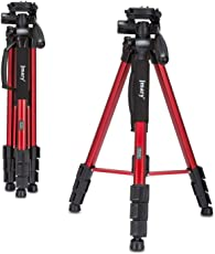Jmary Professional Aluminium Tripod for All Dslr Cameras, Spotting Scope ,Camcorders, Mobile Phones with 360 Panorama Ball Head Stand (Red)