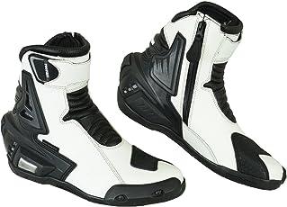 Pro prima vera pelle moto moto moto protezione da corto caviglia scarpe Stivali Antiscivolo Racing Sports   Bianco e nero