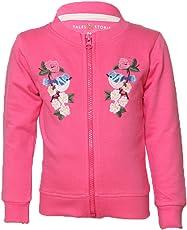 Tales & Stories Dark Pink Cotton Printed Crew Neck Sweatshirt for Girls