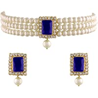 I Jewels 18K Gold Plated Traditional Handcrafted Stone Studded Pearl Choker Necklace Jewellery Set With Earrings For…