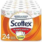 Scottex Quanto Basta, Carta Cucina Opzione Mezzo Strappo, Confezione da 24 Maxi Rotoli