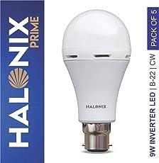 Halonix Inverter LED Bulb B22 9-Watt (Power Backup Upto 4 Hours) Pack of 5, White