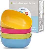 4pcs Bamboo Kids Bowls (20oz) for Baby Feeding,Non Toxic & Safe Toddler Bowls,Eco-Friendly Tableware for Baby Toddler Kids Bamboo Toddler Dishes & Dinnerware Sets Gold NEWCB-largesquarebowl0501