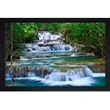 SAF Natural Waterfall Large Synthetic Framed UV Digital Reprint Painting (14 inch x 20 inch) SANFM4130