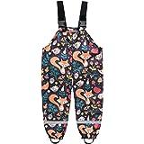 Pantalones de lluvia infantiles con diseño de dibujos animados, unisex, con peto para la lluvia, resistentes al viento y al a