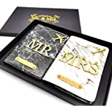 Personalised Mr & Mrs Marble Passport Covers Couples Gift