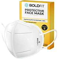 Boldfit Anti Pollution Cotton N95 Reuseable Unisex Face Mask (White, Without Valve, Pack of 5) Third Party Tested by…