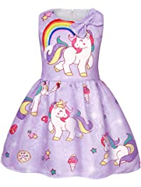 b59941c7901 AmzBarley Girls Unicorn Dress Princess Sleeveless Evening Party Dresses for  Kids Halloween Costume Holiday Birthday Dress