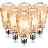 AGOTD Ampoule E27 Vintage, 6 Pièces Ampoule Edison ST64 4W Décorative Rétro Antique Lampe Filament Blanc Chaud pour Restauran