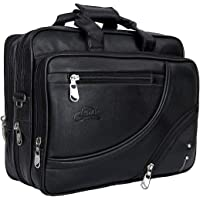 Leather World Expandable Pu Leather 15.6 inch Water Resistant Laptop Bags Office Bag for Men Women Messenger Bag Travel