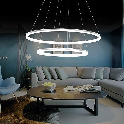 KJLARS Modern Pendelleuchte Hangelampe 2 LED Ring Hangeleuchte Pendellampe Hohenverstellbar Pendellange Maximum 150 Cm Deckenleuchte Fur Wohnzimmer