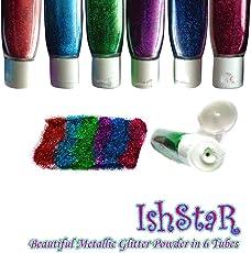 Kashish* Glitter Powder In 12 Tubes -- 6 neon + 6 metallic shades Glitter Dust -- Craft Diy Fine Glitter Powder -- Perfect for Craft and Nail Art