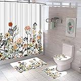 1//3//4 Pièces Méduse salle de bains Rideau de douche bain rideaux Tapis WC Housse De Siège